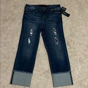 New Liverpool Jeans Company distressed Capri 6 28
